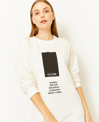 Sweatshirt Femme Blanc Icon...