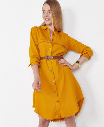 Robe chemise femme - Moutarde