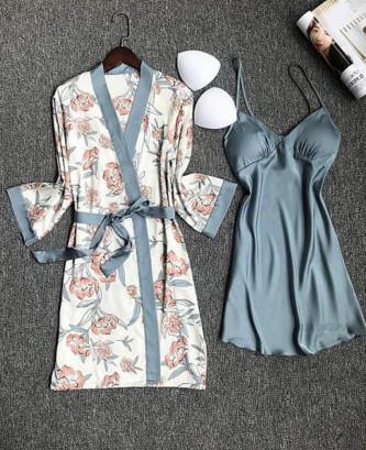 Pyjama satin 4 pcs - Bleu/Gris